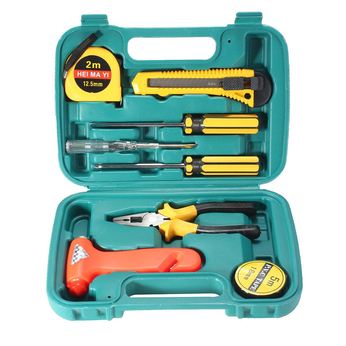 9Pcs Hardware Combination Kit Manual Tool Wrench Utility Knife Screwdriver Car Emergency Tool