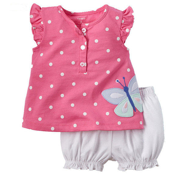 Flower Butterfly Pattern Toddler Girls T-Shirt Short Pants Sets For 1Y-4Y