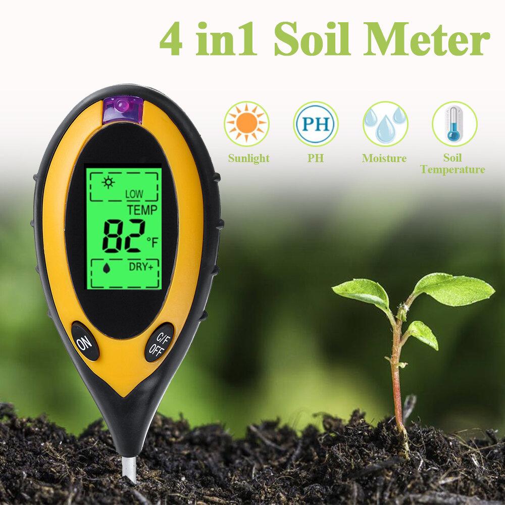 Soil PH Meter Four-In-One Soil Tester Light Detector Soil Acidity PH Meter Soil Moisture Thermometer
