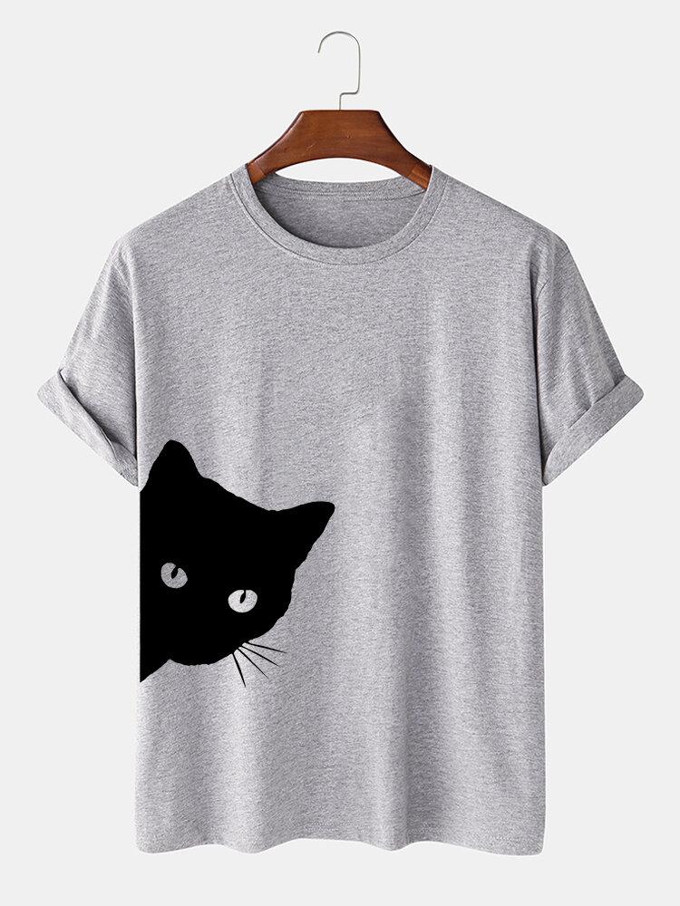 Mens Cotton Cartoon Black Cat Print Loose Light O-Neck T-Shirts