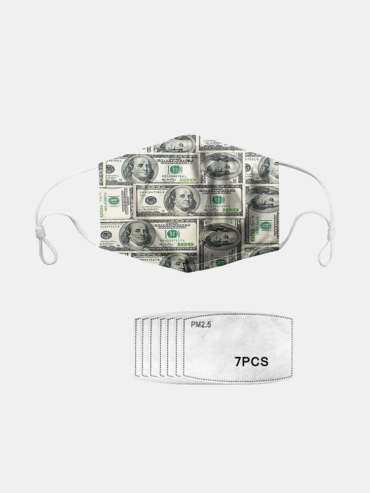 7ピースガスケットセットデイジーPM2.5マスクダラーパターンダストマスク