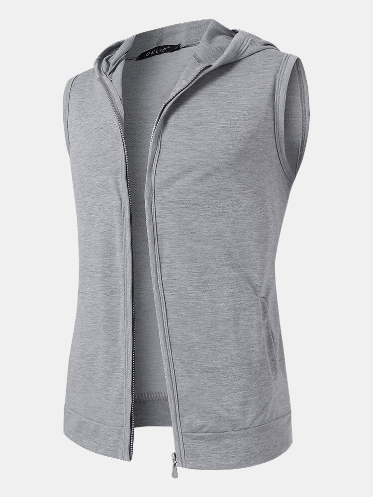 Mens Pure Color Cotton Casual Sleevless Hooded Vests With Pocket