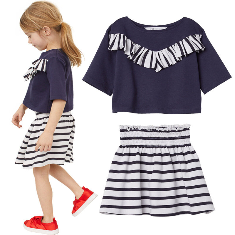 Soft Cotton Toddler Girls Clothing Set Short Sleeve Tops+Striped Skirts For 2Y-9Y