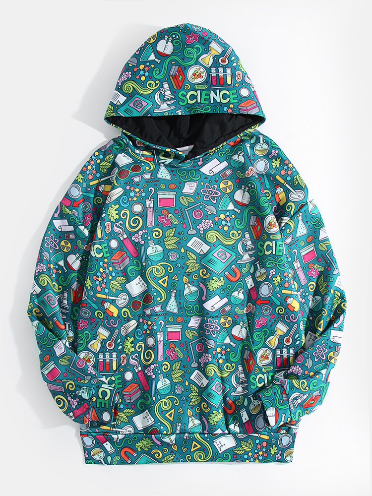 Mens Allover Cartoon Print Casual Relaxed Fit Pullover Hoodie With Kangaroo Pocket