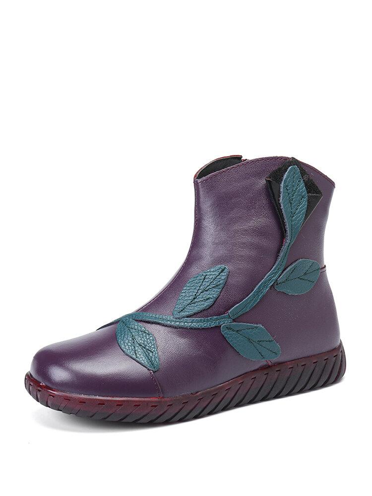 Women Casual Side Zipper Flowers Pattern Soft Comfortable Flat Short Calf Hand-stitched Boots