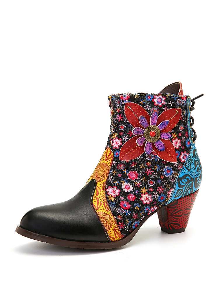 SOCOFY Retro Leaf Flower Leather Comfy Zipper High Heel Ankle Boots