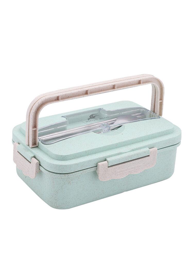 الميكروويف التدفئة الغداء مربع العزل مانعة للتسرب القمح سترو حاوية الغذاء مع أدوات المائدة