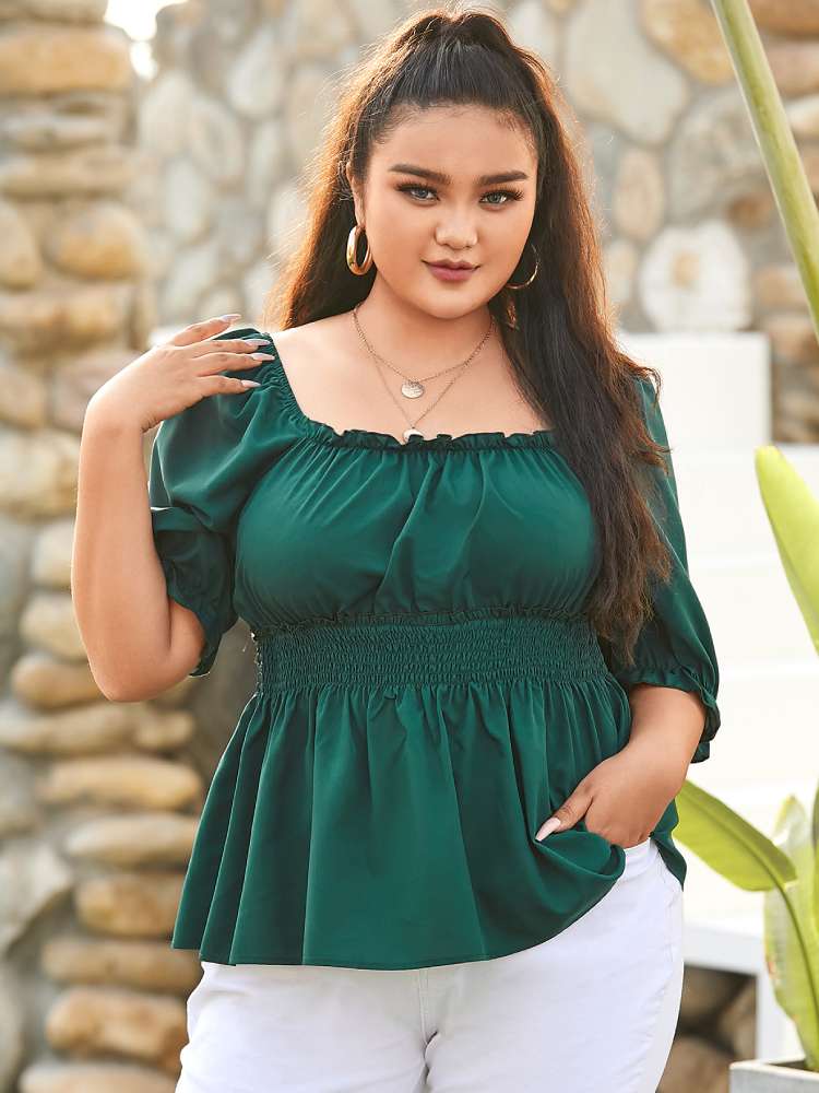 Solid Color Square Collar Pleated Plus Size Casual Blouse