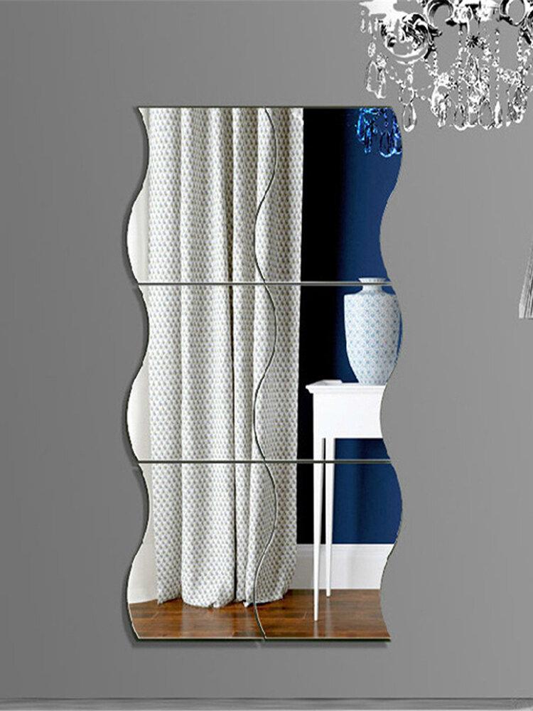 6pcs موجات شكل ذاتية اللصق 3D مرآة ملصقات الحائط غرفة صائق ديكورات