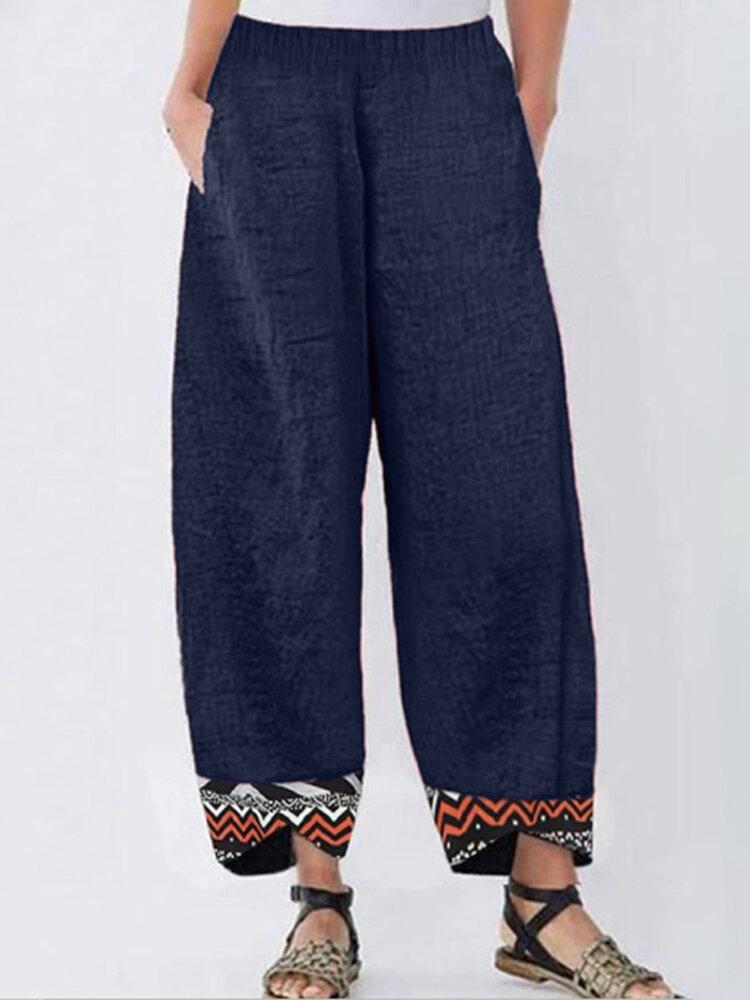 Casual Print Hem Patchwork Plus Size Pants with Pockets