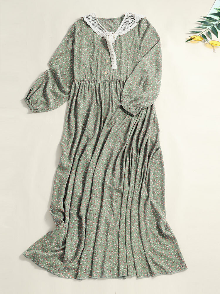 Floral Print O-neck Long Sleeve Button Lace Knotted Maxi Dress