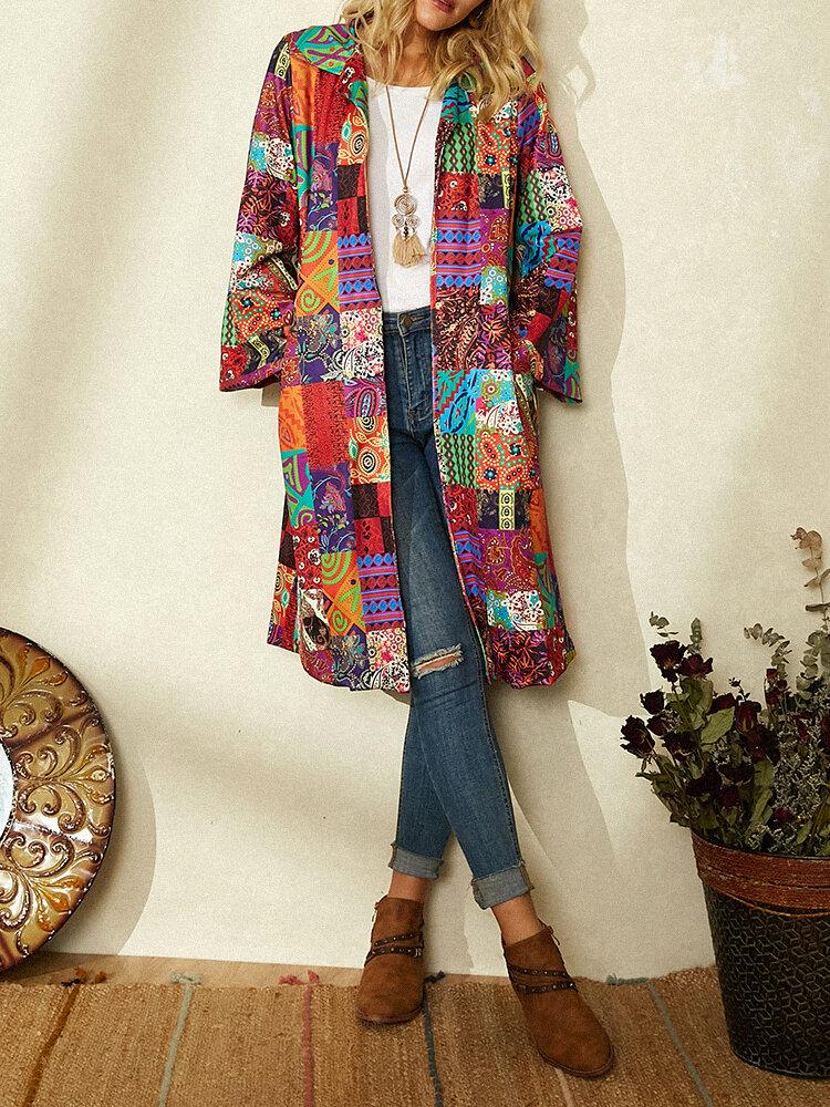 Винтаж Пальто в стиле пэчворк с длинным рукавом и отложным воротником с принтом для Женское