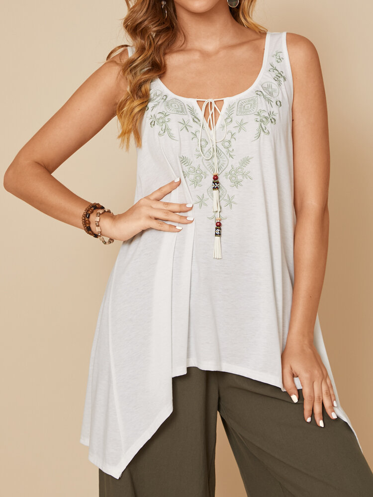 Asymmetrical Embroidery Calico Backless Casual Tank Tops