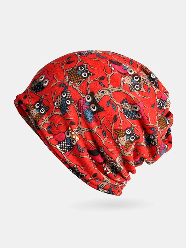 Women Owl Pattern Slouchy Bonnet Cap Multi-function Double Layers Windproof Warm Scarf