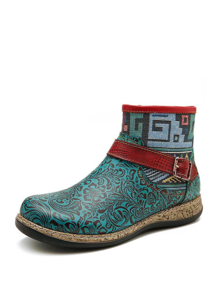 SOCOFY Retro Damen Grün geprägtes Echtleder Soft Flacher Reißverschluss Knöchel Stiefel