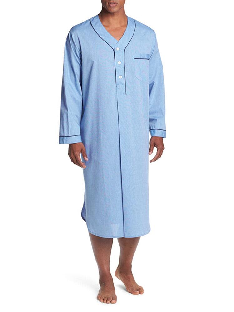 Long Sleeve Henley Shirt Design Chest Pokcets Sleepwear Loungewear Robe for Men