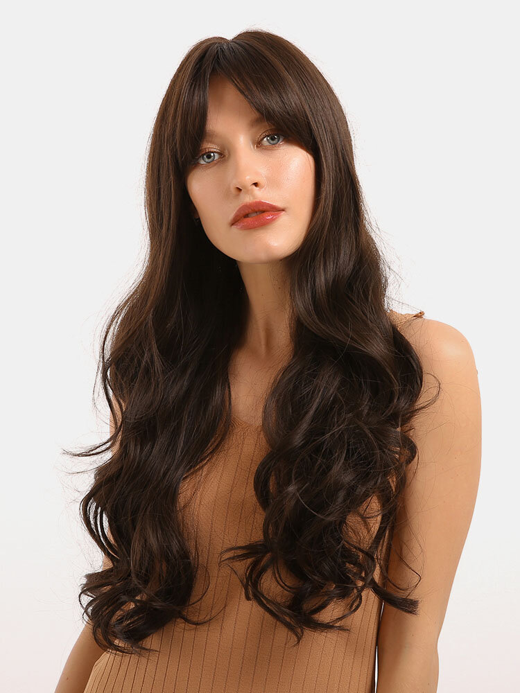 28 Inch Synthetic Hair Brown Long Curly Hair Women Wigs Natural Wave Heat Resistant Fiber Hair Wigs