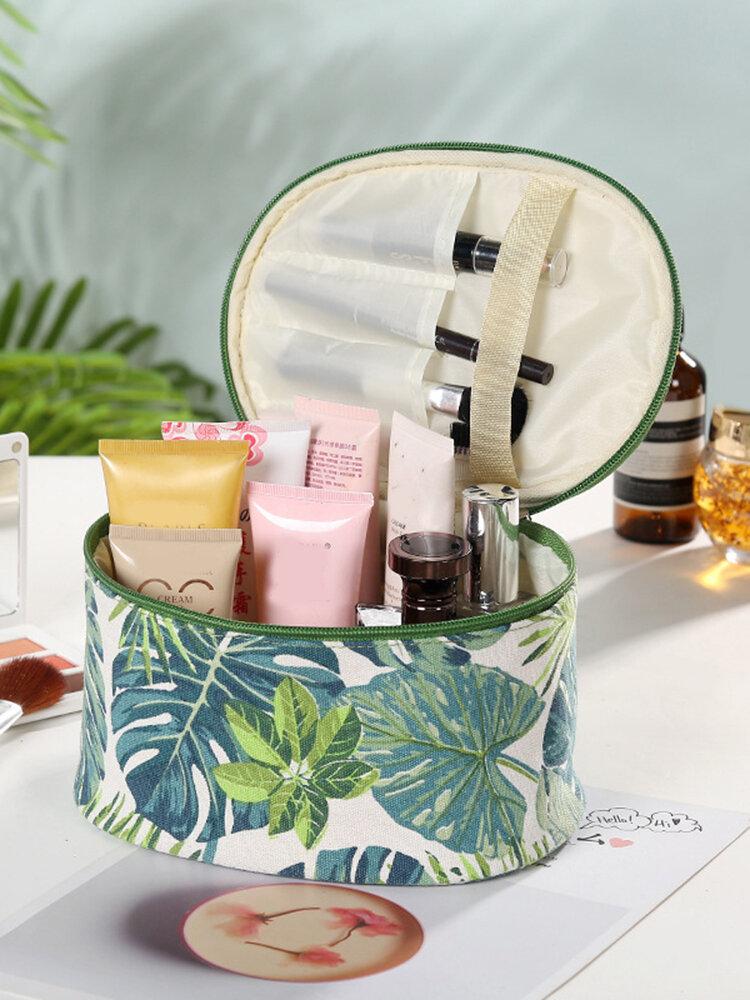 Creative Plant Print Kosmetiktasche Reise Waschbeutel Baumwolle Leinwand Aufbewahrungstasche Große Kapazität