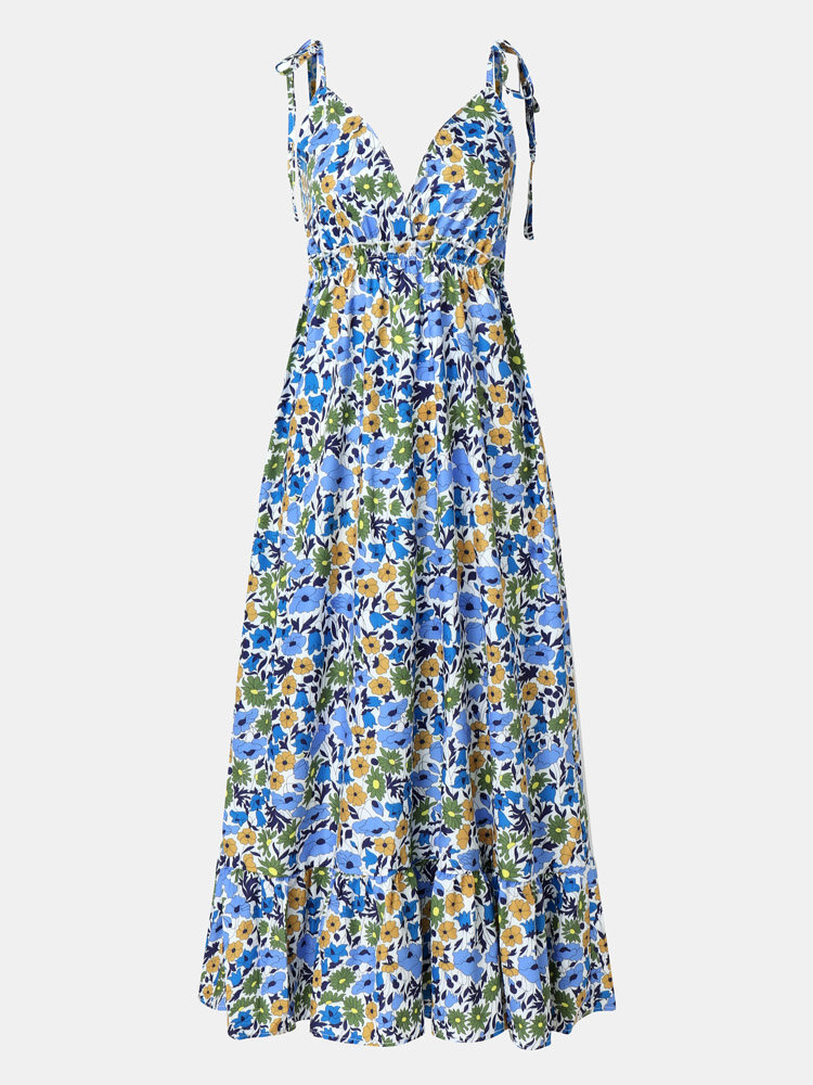 Backless Strap Knotted V-neck Summer Holiday Floral Print Sexy Dress