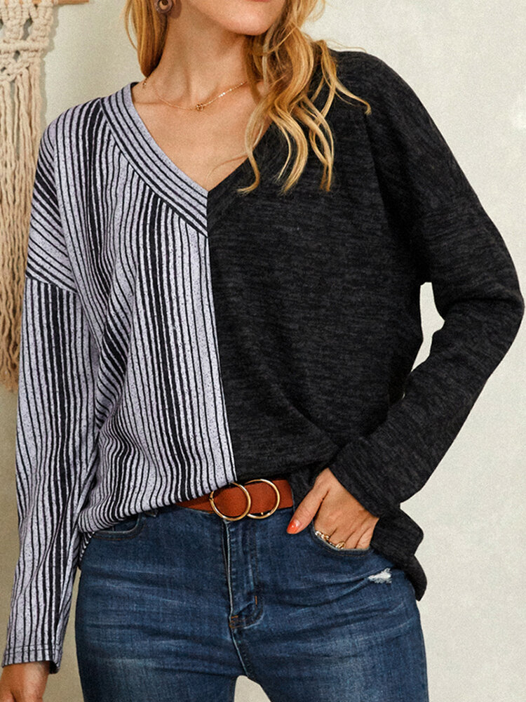 Striped Print Patchwork Contrast Color Casual Blouse for Women