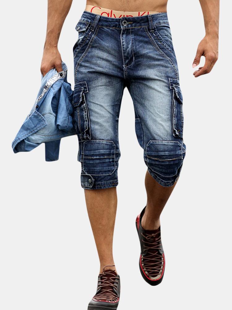 Retro Multi Pockets Over-Knee Casual Short Jeans For Men