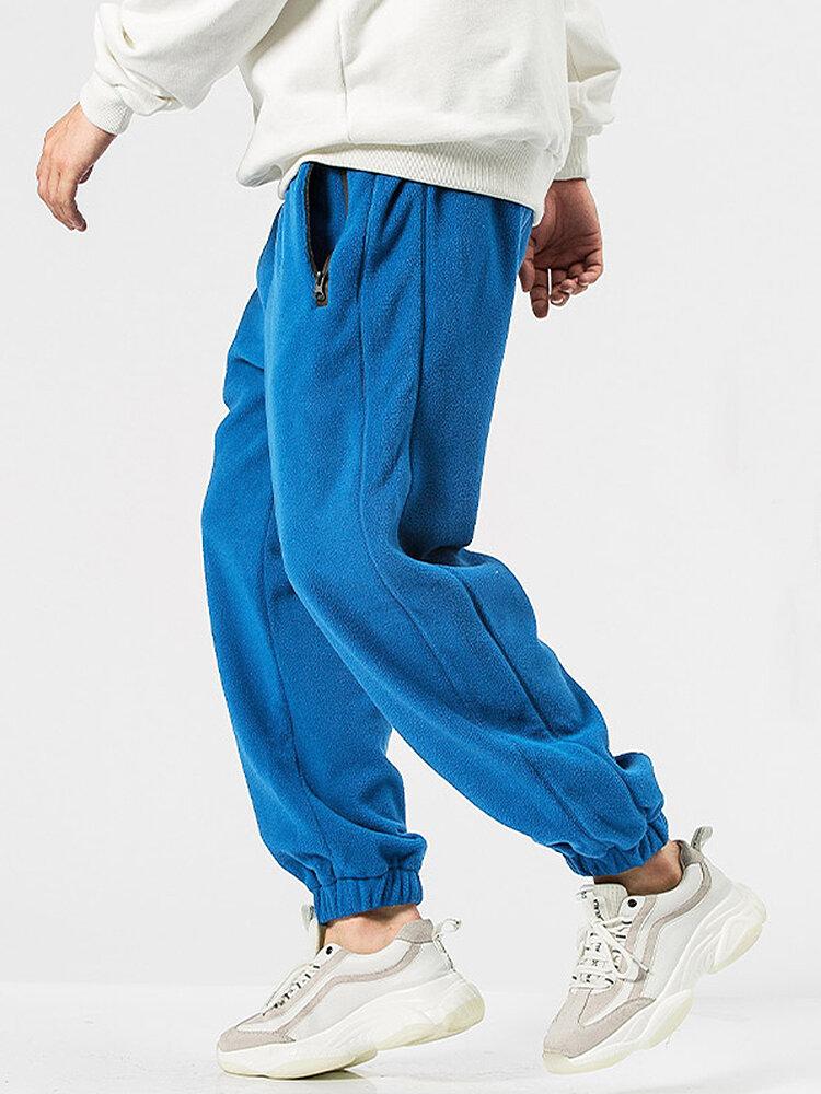 Mens Fleece Solid Color Drawstring Thick Plush Jogger Pants