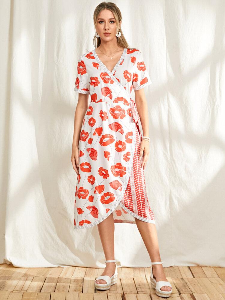 Aymmetrical Calico Print Patchwork V-neck Knotted Dress