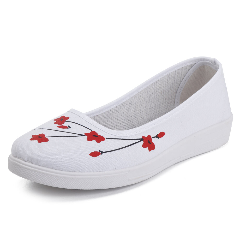 Flower Pattern Canvas Flat Shoes