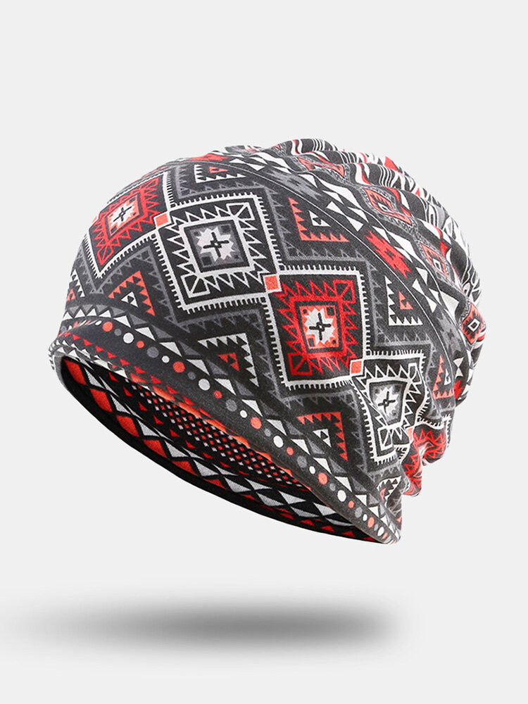Women Polyester Cotton Dual-use Overlay Argyle Ethnic Pattern Print Elastic Casual Scarf Beanie Hat
