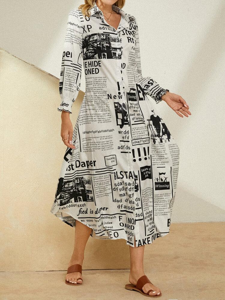 Newspaper Print Lapel Button Long Sleeve Maxi Shirt Dress