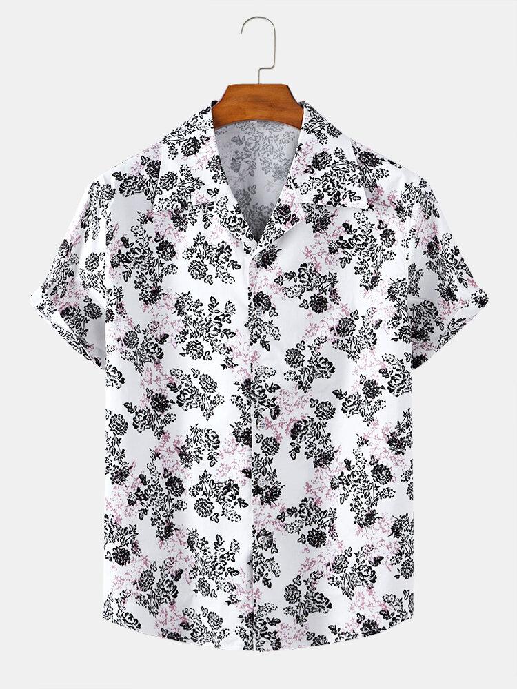 Mens Allover Floral Print Casual Plain Breathable & Light Short Sleeve Shirts