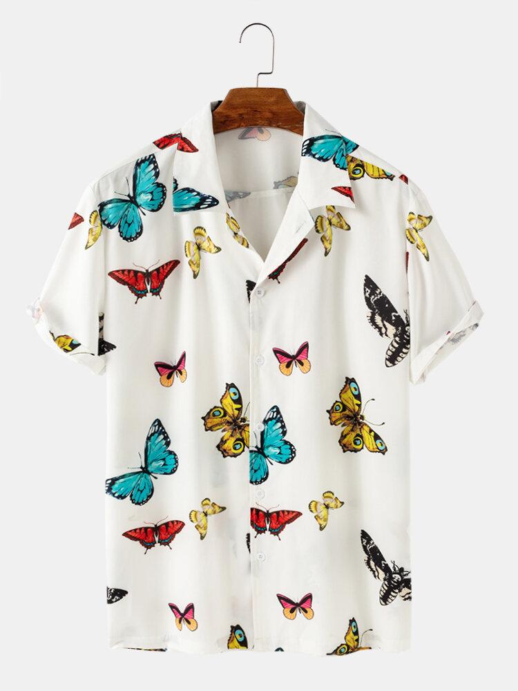رجل Colorful فراشة طباعة الصيف عارضة قصيرة الأكمام قمصان ضوء
