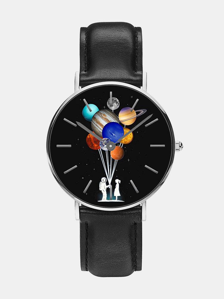 Mens Cartoon Astronaut Colorful Planet Print Quartz Watch
