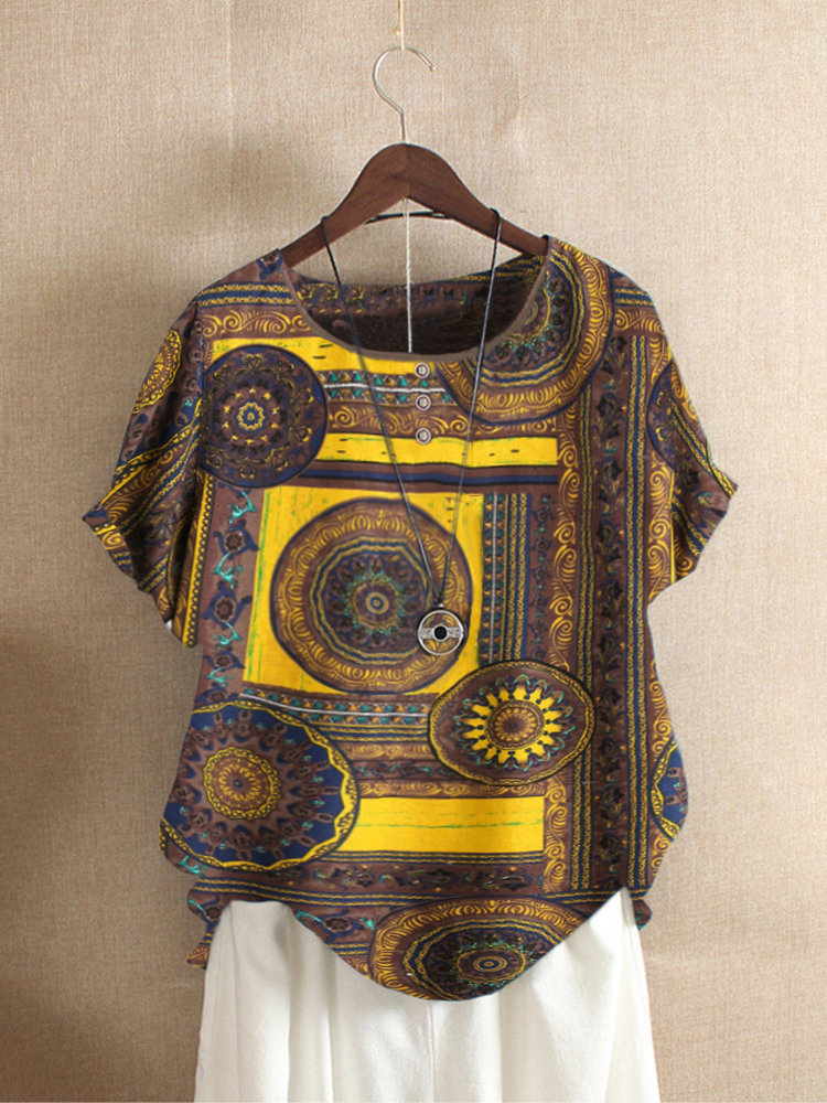 Ethnic Print Short Sleeve T-Shirt