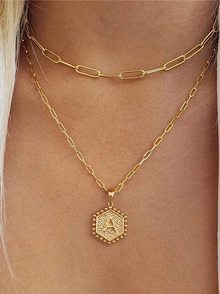 Luxury 14K Gold Plated Hexagonal Women Necklace Gold Layered Paperclip Link 26 Initials Pendant Necklace