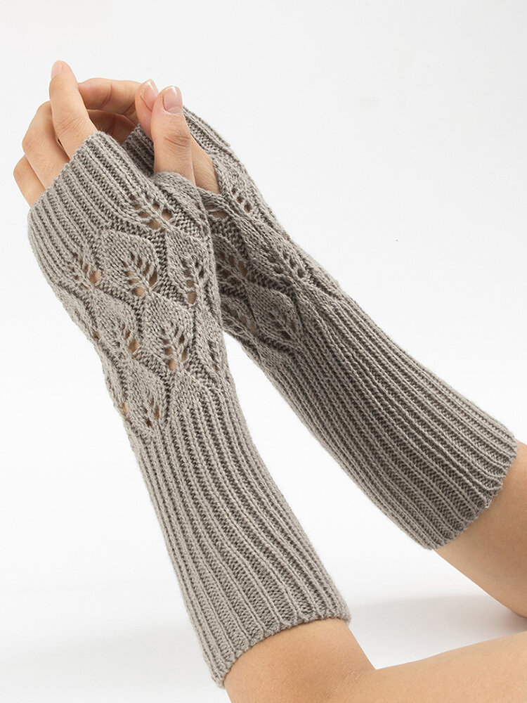 28.5CM Women Winter Knitting Jacquard Fingerless Long Sleeve Casual Warm Half Finger Gloves