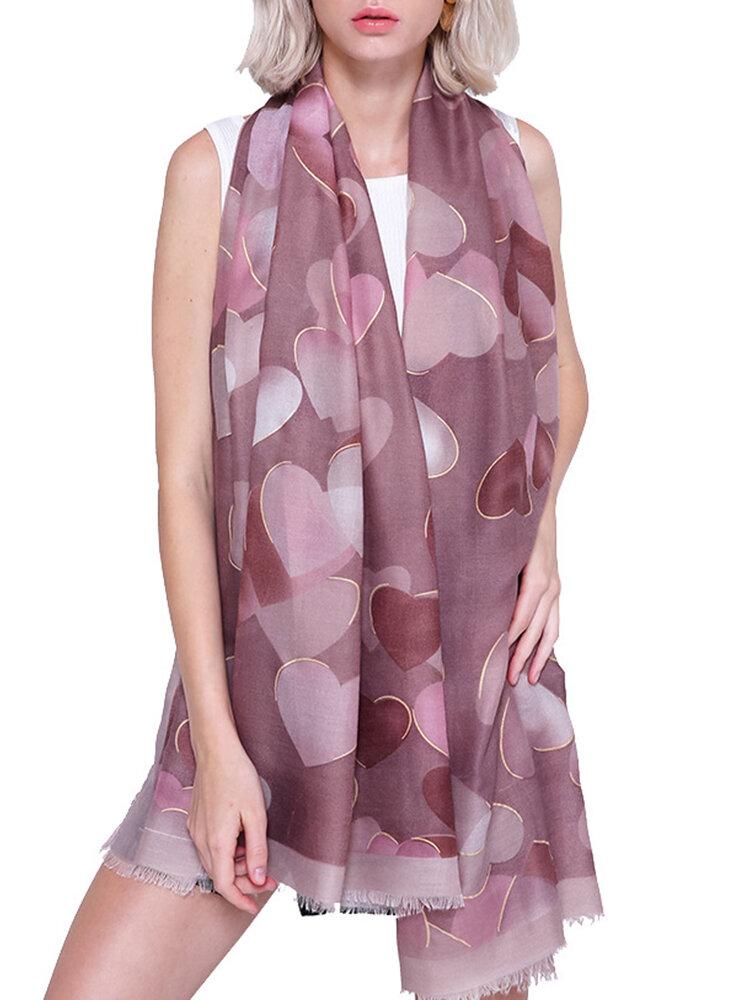 Womens Vogue Simple Cotton Linen Breathable Heart Warm Scarf 180*90cm Oversize Shawl