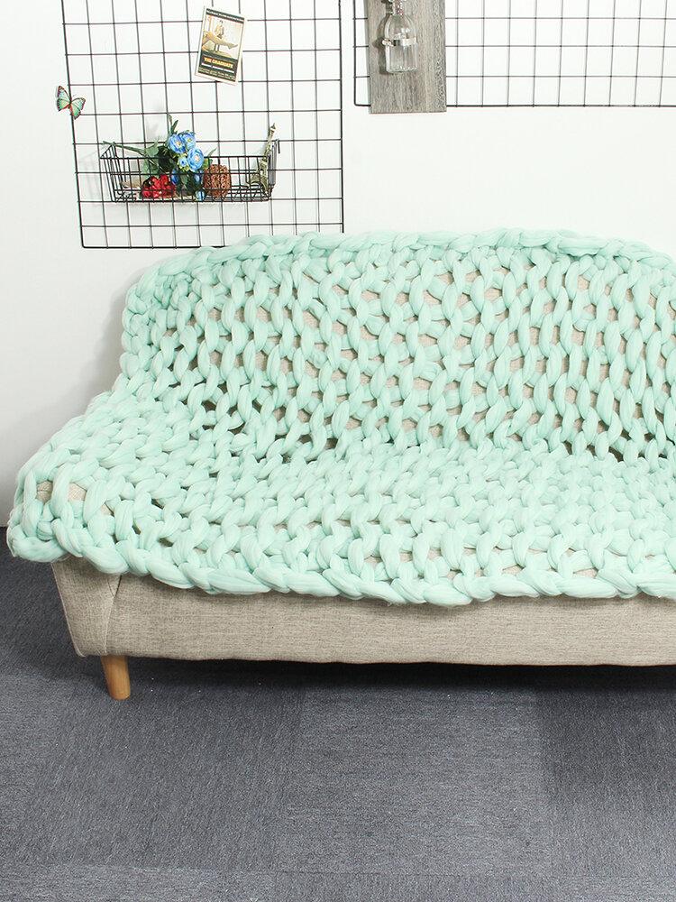 100*120cm Fashion Hand Chunky Wool Knitted Blanket Thick Yarn Merino Wool Bulky Knitting Throw Blankets Chunky Knit Blanket