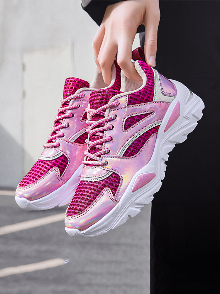 Women Soft Comfy Mesh Breathable Cream Chunky Sneakers