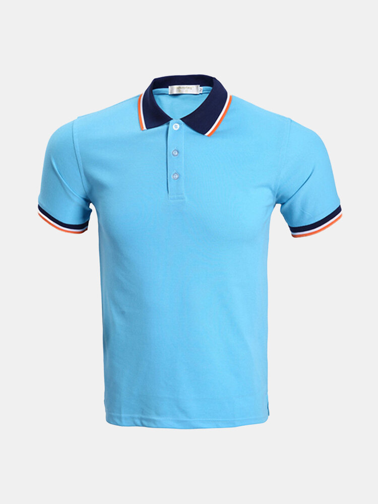 Fashion Casual Breathable Solid Color Turn-Down Collar Tees Short Sleeve Golf Shirt for Men