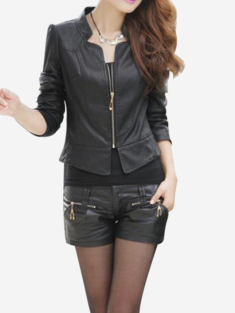 PU Leather Clothing Slim Motorcycle Jacket Outerwear