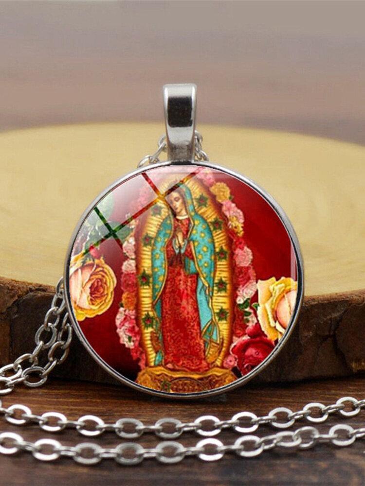 Vintage Virgen María y el niño collar de aleación de vidrio impreso Colgante Mujer collar