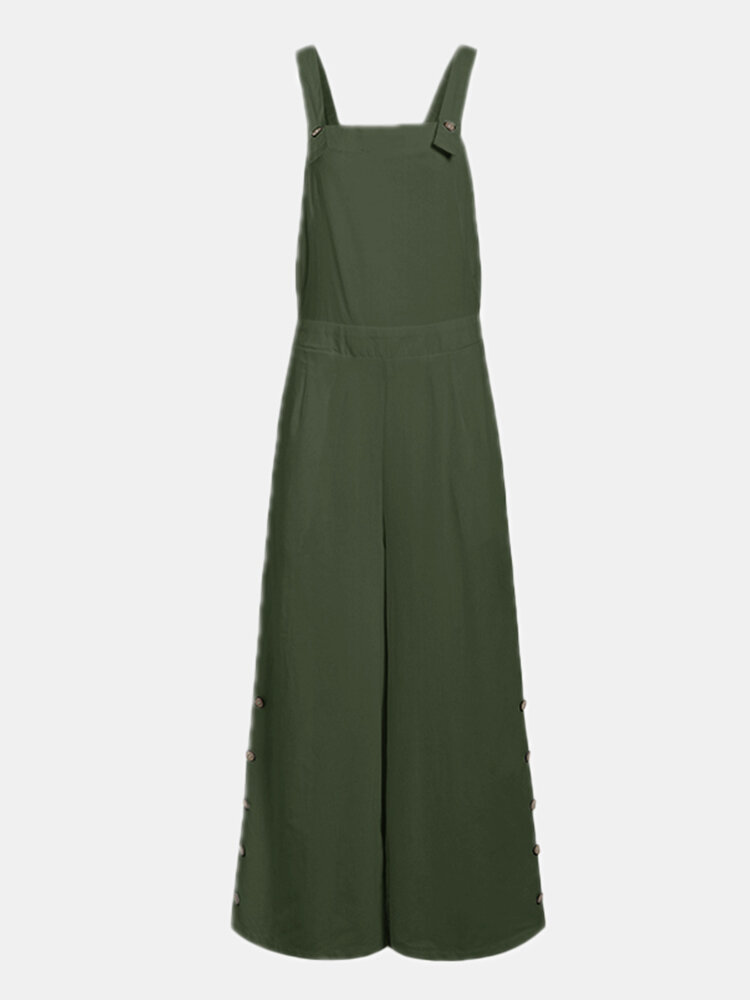 Solid Color Button Long Sleeveless Casual Jumpsuit for Women