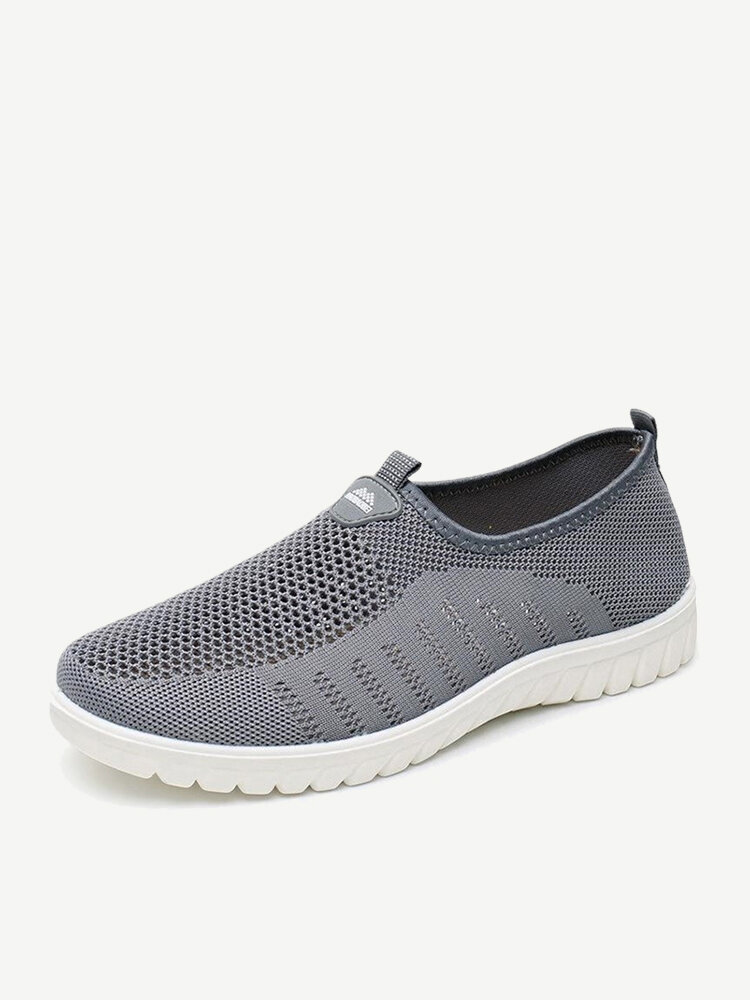 Large Size Men Knitted Fabric Soft Slip On Casual Walking Sneakers