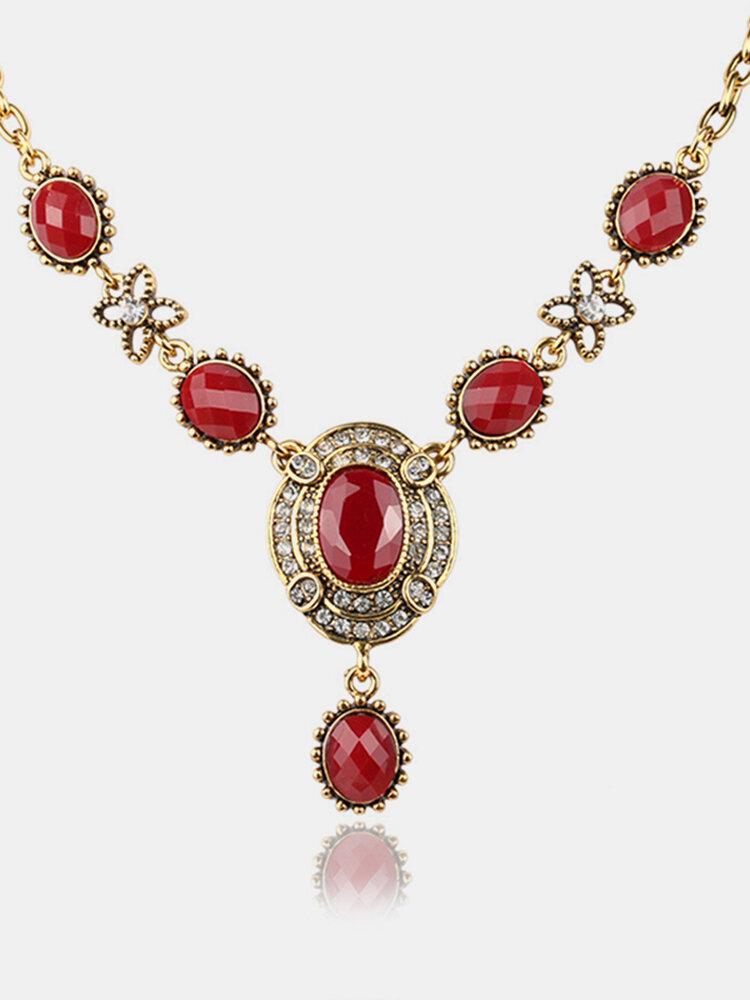 Vintage Rhinestone Gem Necklace Temperament Geometric Hollow Pendant Necklace Ethnic Jewelry