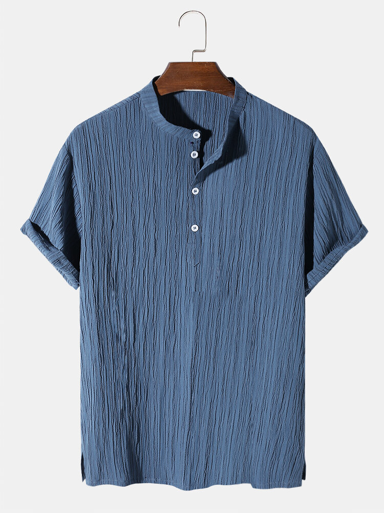Mens Solid Color Pleated Texture Short Sleeve Henley Shirt