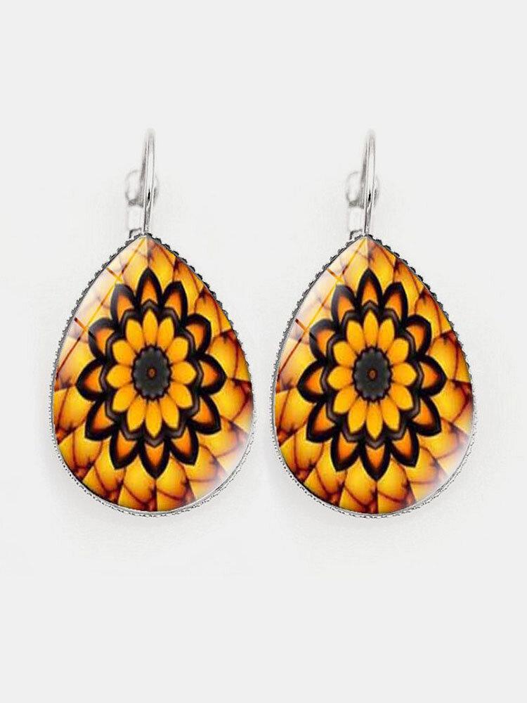 Vintage Glass Printed Women Earrings Geometric Flower Pendant Earrings Jewelry Gift