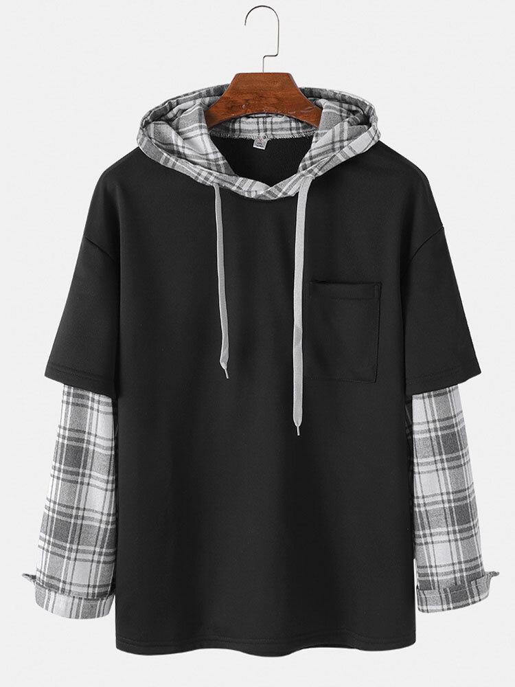 Mens Patchwork Plaid Contrast Faux Twinset Casual Drawstring Hoodies With Pocket