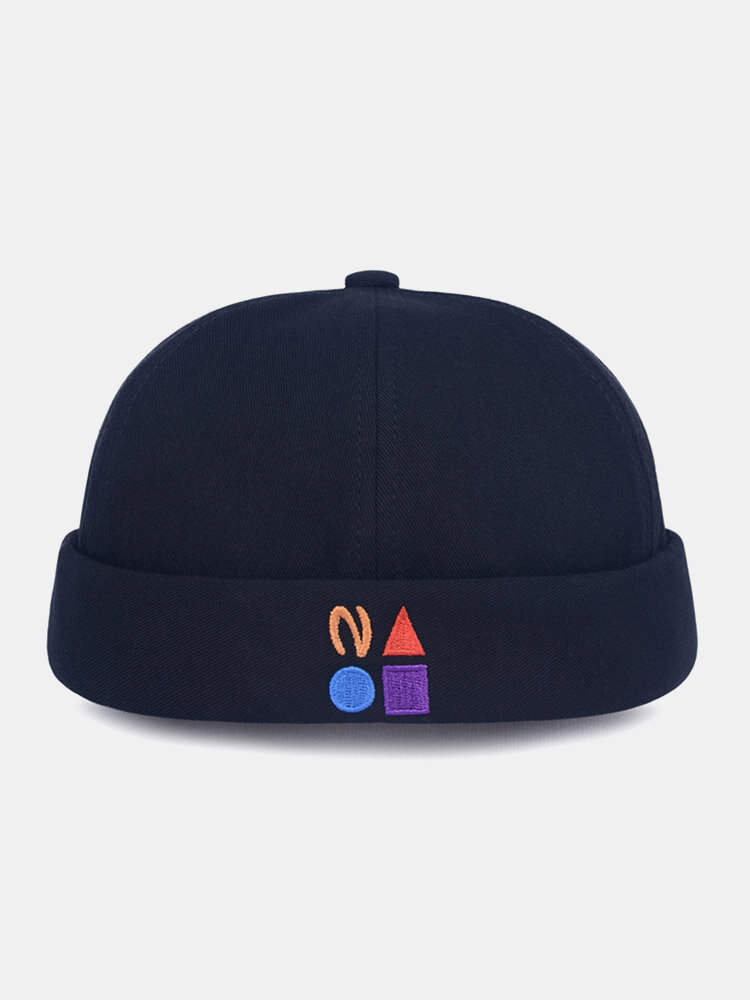 Unisex Cotton Solid Color Letter Graphic Pattern Embroidery Brimless Beanie Landlord Cap Skull Cap