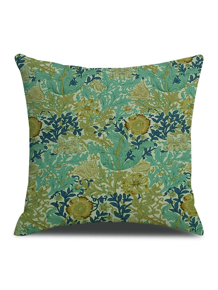 Vintage European Style Plant Print Linen Cushion Cover Home Sofa Office Waist Throw Pillowcases